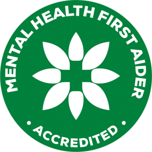 Lowina Blackman the money mindset coach Mental Health First Aid accredited badge Australia in green logo