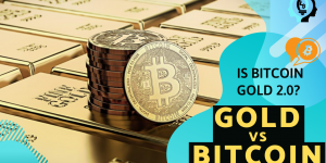 Gold vs Bitcoin image showing stack on bitcoin on pile of gold bars featured on money mindset coach Lowina Blackman blog