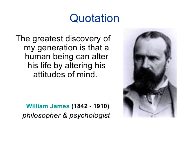 The greatest discovery of my generation is that human beings can alter their lives by altering their attitudes of mind quote by William James