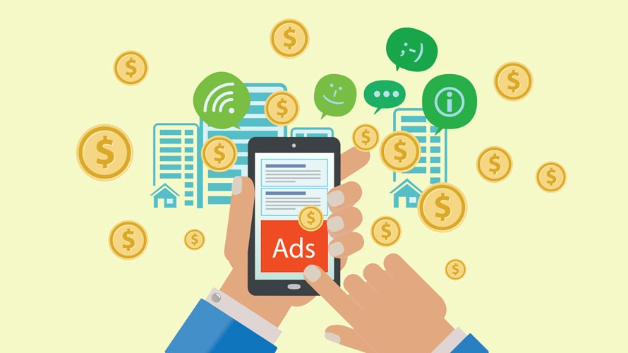 illustration of mobile phone with social media and advertising money