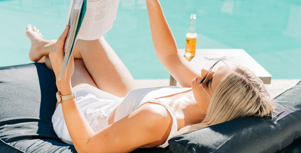 girl at the poolside successful in life