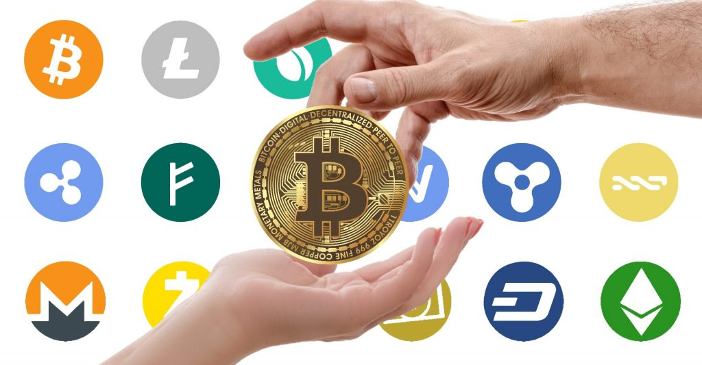 cryptocurrency logos with bitcoin in the middle