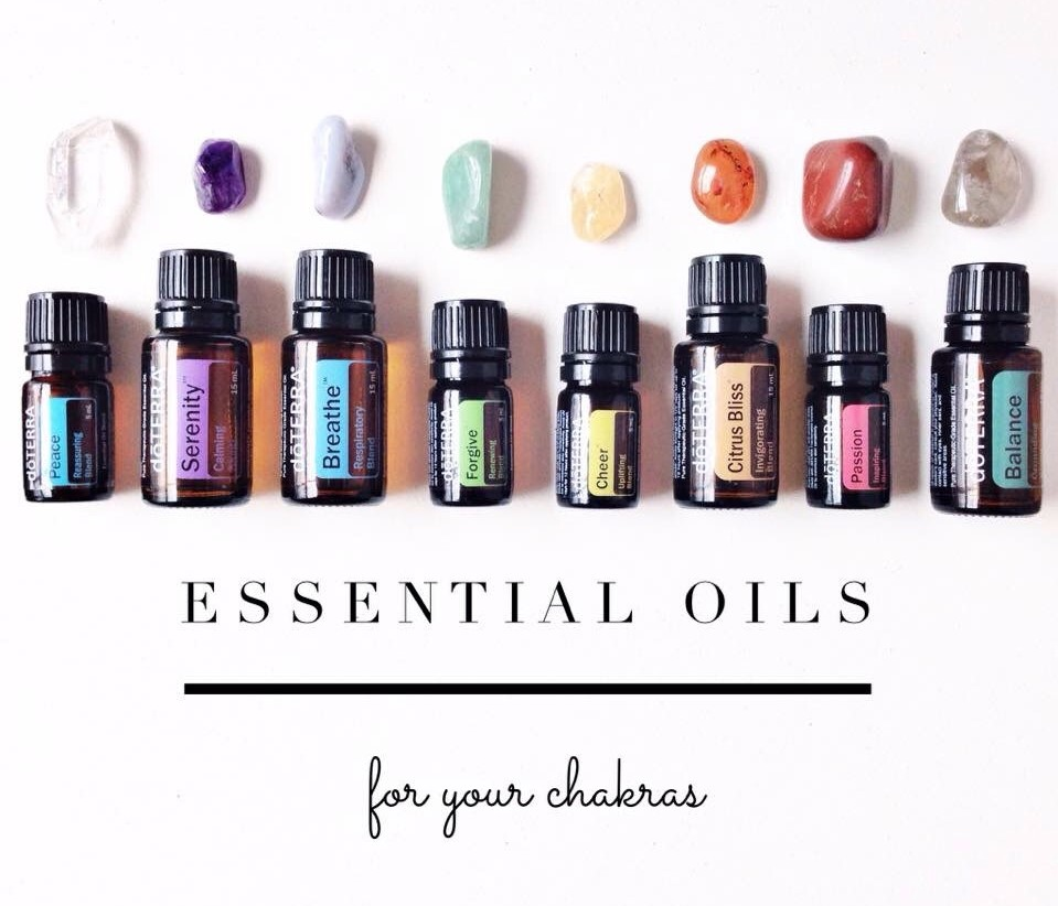 Chakra healing essential oils from doTerra by colour and crystals