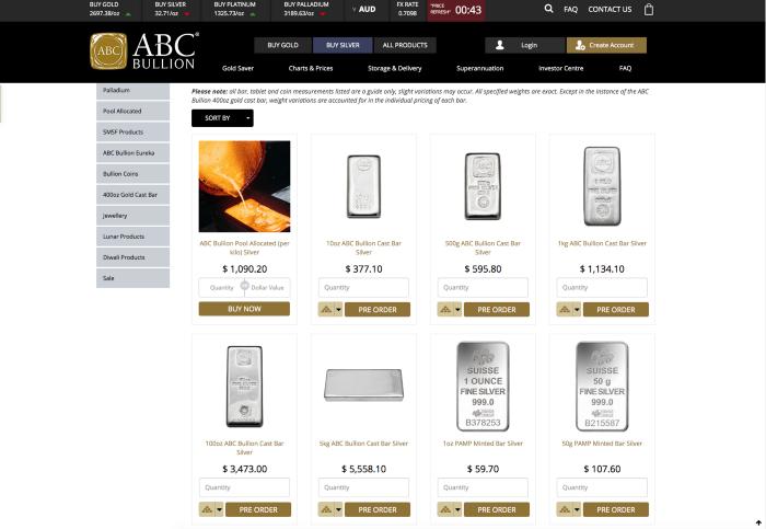 ABC Bullion website
