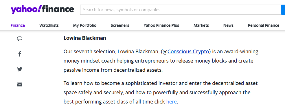 Lowina Blackman featured in Yahoo Finance